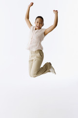 African girl jumping in air