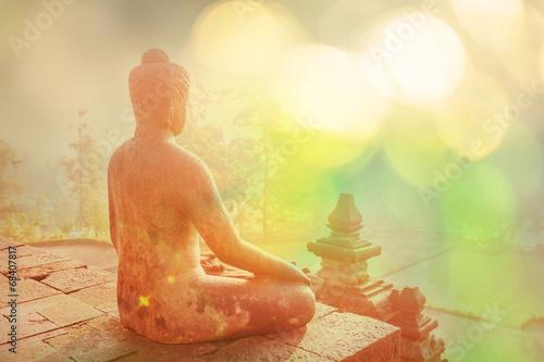 Spoed canvasdoek 2cm dik Standbeeld Borobudur