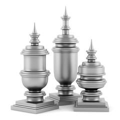 three metallic vases isolated on white background