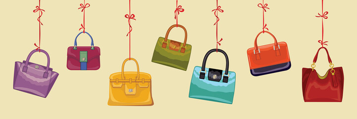 Colorful fashion handbags. Autumn Vector
