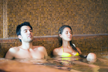 Couple relaxing in a spa