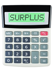 Calculator with SURPLUS on display isolated on white background