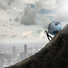 Woman pushing planet