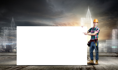 Tradesman with banner