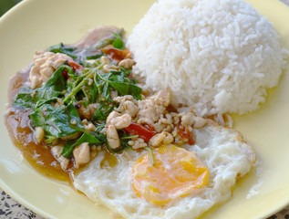 thai cuisine,  basil  fried rice and fried egg.