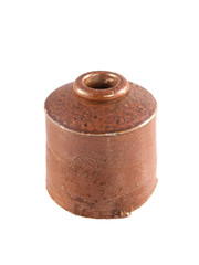 Vintage clay ink well on a white background.