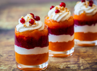 Pumpkin and cranberry dessert