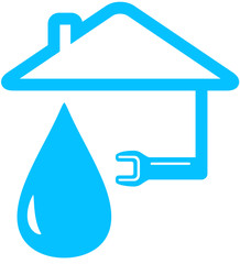 isolated icon with wrench, home and drop