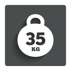 Weight sign icon. 35 kilogram (kg). Sport symbol