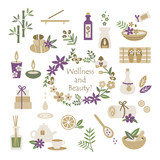 Set of wellness and beauty elements