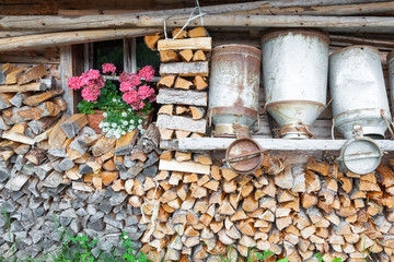 decorative old milk cans of a mountain hut