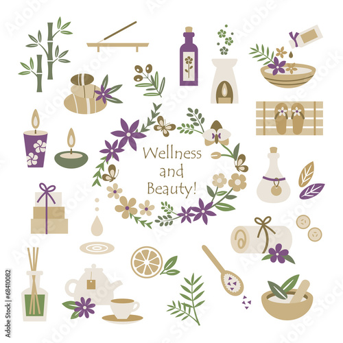 Set of wellness and beauty elements - 68410082