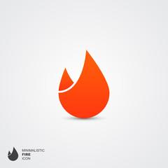 Minimalistic fire logo, vector illustration