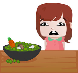 Little girl with a table full of vegetables