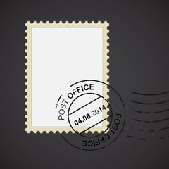 Post mark with stamp for your design, vector illustration