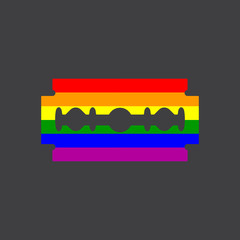 Gay flag, razor, vector illustration