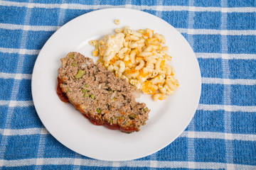 Meatloaf with Mac and Cheese on Blue Towel