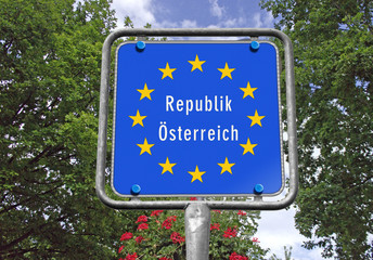 Grenzschild Republik Österreich
