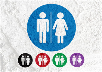 Restroom icon and Pictogram Man Woman Sign on Cement wall textur
