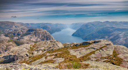 View over beautiful Lysefjord HDR