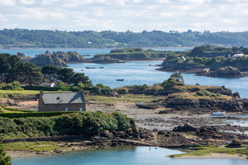 Houses and small boats on Brehat island in brittany