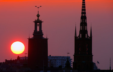 .Stockholm cityscape at sunset