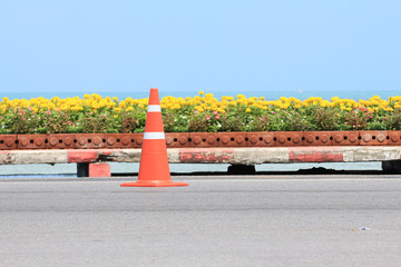 Traffic cone on road with flower and seascape background