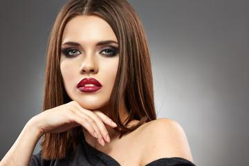 Woman model beauty face. Fashion posing.