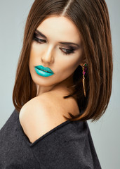 Beauty woman with blue lips, streight hair.