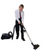 young man cleans the floor vacuuming