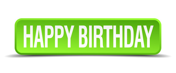 happy birthday green 3d realistic square isolated button