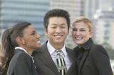 Multi-ethnic businesspeople outdoors