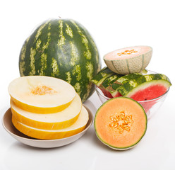 Delicious watermelon and melon on the table