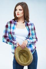 Beauty caucasian woman fashion posing