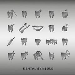 Set of dentistry symbols.