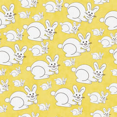 Yellow and White Bunny Textured Fabric Repeat Pattern Background