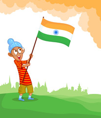 Sikh boy hoisting Indian flag