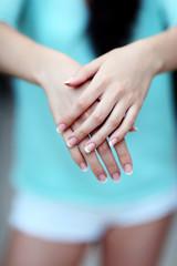 Closeup portrait of a female hands