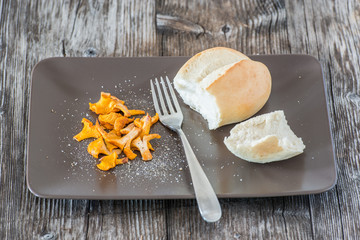 Rustic dish with fresh chanterelle and bread