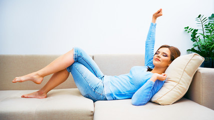 Ypung beautiful woman relaxing