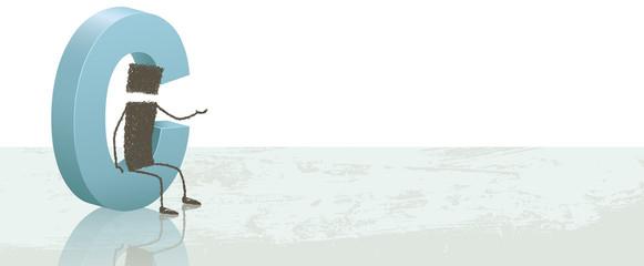 Drop cap_C. Illustration of a stick figure next to the letter C