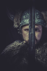 War, Costume, Viking warrior with a huge sword and helmet with h