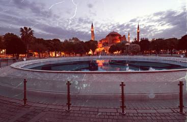 Retro style photo of St. Sophia church in Istanbul