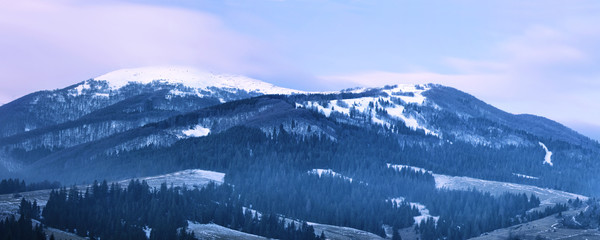 Panoramic image of Carpathian mountains at sunrise