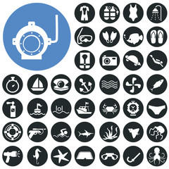 Diving icons set. Illustration eps10