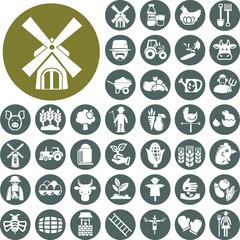 Farm icons set. Illustration eps10