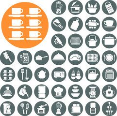 Kitchenware icons set. Illustration eps10