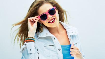 Fashion model. Woman sunglasses portrait.