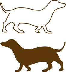 Illustration of Sketched Dachshund brown silhouette isolated on