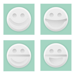 Close white pill of happiness with smile